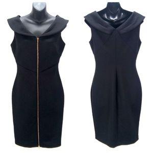 Calvin Klein Black Peter Pan Bodycon Zip Dress 8